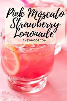 This Pink Moscato Strawberry Lemonade is an easy AO recipe that's perfect for a lazy day or your celebrations this weekend. Frozen Lemonade Recipes, Easy Lemonade Recipe, Homemade Strawberry Lemonade, Homemade Lemonade Recipes, Raspberry Lemonade, Raspberry Cheesecake, Cheesecake Desserts, Alcohol Drink Recipes, Punch Recipes
