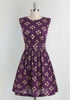 Too Much Fun Dress in Plum Petunias From the Plus Size Fashion Community at www.VintageandCurvy.com