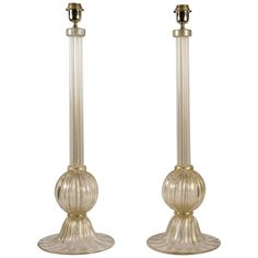 Pair of Table Lamps in Murano Glass Signed Toso | From a unique collection of antique and modern table lamps at https://www.1stdibs.com/furniture/lighting/table-lamps/