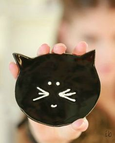 Black Cat Halloween Ceramic Plate Minimalist Kitty by Ceraminic