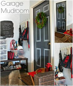 don't have a mudroom - clear some space in your garage to create one - garage mudroom organization