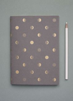 Bartsch Moon Crescents notebook in Elephant Grey Notebook Binder, Notebook Organization, Notebook Covers, Notebook Paper, Beautiful Notebooks, Deco Design, Photoshop, Pen And Paper, Stationery Design