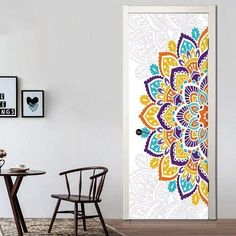 Wonderful A Half Colorful Mandala Flower Oil Painting Wall Sticker Wallpaper Door Stickers Home Decor Price history. Subcategory: Home Decor. Wallpaper Door, Wall Stickers Wallpaper, Door Stickers, Modern Wallpaper, Wall Stickers Home, Wall Stickers India, Luminaria Harry Potter, Door Murals, 3d Texture