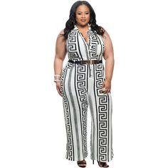 76c9a70e3f8 Plus Size White Print Gold Belted Jumpsuit LAVELIQ Plus Size Jumpsuit