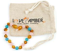 Serena Rose Quartz Aquamarine Cognac Baltic Amber Child Anklet Bracelet