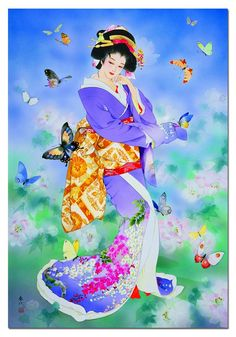 Cho No Mai 1500 Piece Puzzle: This puzzle features a beautiful Japanese geisha surrounded by butterflies. Artwork by Haruyo Morita. Educa puzzles are known Japanese Drawings, Japanese Artwork, Japanese Painting, Japanese Prints, Art Geisha, Geisha Kunst, Art Chinois, Anime Kimono, Art Asiatique