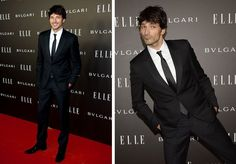 Attending the Elle Style Awards in Madrid, Spain on October 23rd, Spanish model Andres Velencoso Segura charmed in a slim-cut, tailored black suit from Emporio Armani.