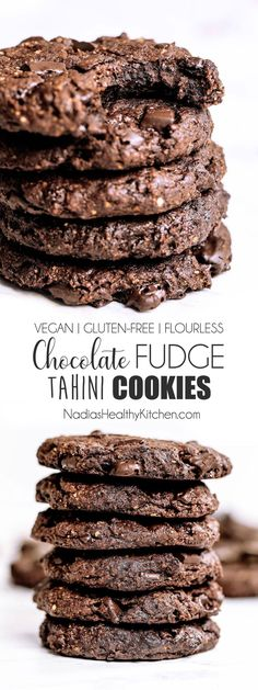 Chocolate Fudge Tahini Cookies Rich, dense and chewy chocolate cookies made using healthier ingredients and they're completely plant-based and gluten-free. If you love chocolate and tahini, then these chocolate fudge tahini cookies are for you… Vegan Dessert Recipes, Vegan Sweets, Healthy Desserts, Gourmet Recipes, Fudge Recipes, Healthy Fudge, Vegan Fudge, Eggless Desserts, Italian Desserts