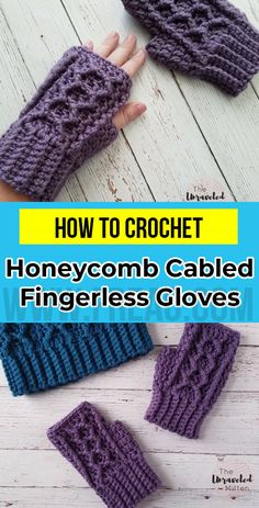 crochet Honeycomb Cabled Fingerless Gloves free pattern      #FingerlessGloves  #crorchet #freecrocehtpattern Crochet Mittens Pattern, Crochet Stitches, Crochet Patterns, Crochet Gifts, Cute Crochet, Blue Purse, Crochet Fashion, Crochet Designs, Fingerless Gloves