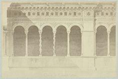 Jean Pierre Emanuel Lampué   Tekening Cloitre de St. Jean de Latran, Jean Pierre Emanuel Lampué, 1860 - 1870   Kloostergang met boogramen