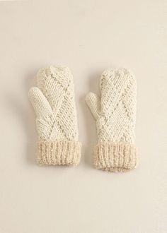 lookbym - Chess Knitted Mittens Ivory Theset Setitems Gloves