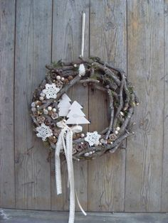 Csak természetesen - natúr ajtódísz, Dekoráció, Otthon, lakberendezés, Ünnepi dekoráció, Karácsonyi, adventi apróságok, Ez a kopogtató minden giccset, minden fölösleges pompát mellőz, még is egyszerűen ünnepi.  A..., Meska