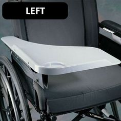 This left sided Flip Away Wheelchair Tray is designed to aid wheelchair users with active functional lifestyles, the tray lifts up and out of the way during transfers or for wheelchair storage.