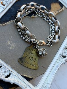 Vintage Rhinestone and Dog Tag Bracelet~