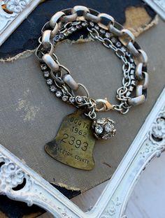 Vintage Rhinestone and Dog Tag Bracelet~