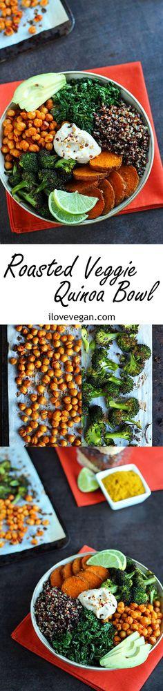 Roasted Veggie Quinoa Bowl (Ready in 30 minutes!) via ilovevegan.com | #recipe #Healthy #Easy #Recipe | @xhealthyrecipex |
