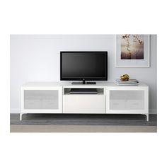 BESTÅ TV-Bank - weiß/Selsviken Hochglanz/Frostglas weiß, Schubladenschiene, sanft schließend - IKEA