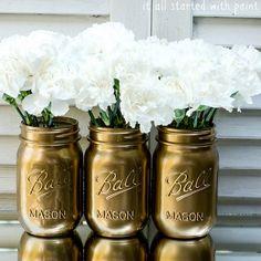 Make Metallic Mason Jars With Spray Paint
