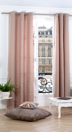 Copper / pink coloured curtain with dot pattern