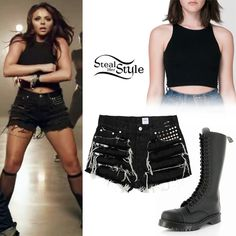 At last, she wore an American Apparel Cotton Spandex Sleeveless Crop Top ($26.00), the Stattons Shorts by Brandi and Manson (£60.00) and a pair of Vegetarian Airseal 20 Eye Boot (£109.95) with Black Sheer Knit High Socks.