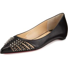 Christian Louboutin Baretta Studded Red Sole Skimmer Flat (€740) ❤ liked on Polyvore featuring shoes, flats, black, pointed toe ballet flats, black pointed toe flats, black pointy toe flats, black leather shoes and black flats
