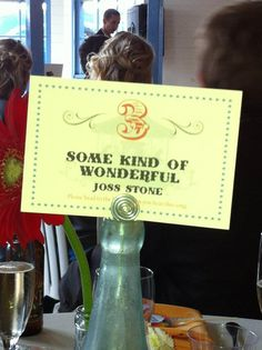 Table cards - when this song plays, it's your table's turn at the buffet. Genius.