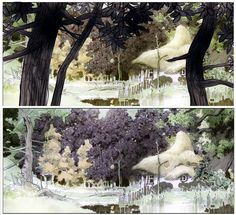 Visual development and production design for the 7bte Zwerg movie by Manu Arenas — drawing study trees environment —