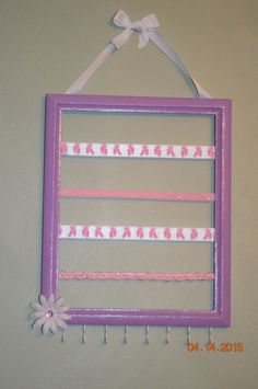 Purple and Pink Ballerina Bow and Headband Holder, Lavender Ballet Hairbow and Headband organizer, Nursery Decor, Jewelry Organizer - pinned by pin4etsy.com
