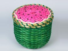 A CASE FOR BASKETS Tuesday, 06 May 2014 Classic cane baskets are all fine and dandy, but sometimes we just want some wickerwork in the shape of a tomato. Or an acorn. Or one ripe, solo grape. Watermelon Basket, Watermelon Patch, Watermelon Art, Weaving Art, Hand Weaving, Lily Cat, Cane Baskets, Inexpensive Home Decor, Basket Weaving