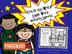 Superhero Color-by-Sight Words Activity Sheet FREEBIE