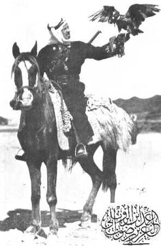 Carl Raswan pictured on an Anazeh war mare