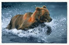 """""""Bear Splash"""" • Oil on canvas paper • 9x6"""" • July 28, 2012 Painted from a photo I took in Katmai National Park & Preserve, Alaska"""