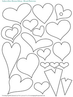 Hearts hearts and more hearts.. applique templates - would look great on my new hat stitched on there.