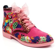 Sqwark with glee when you set your peepers on these intricately embroidered ankle boot flats, Comes with organza laces and an embroidered parrot and jungle pattern. Bootie Boots, Shoe Boots, Ankle Boots, Irregular Choice Heels, Jungle Pattern, Pink Brand, Lace Embroidery, Casual Boots, Leather Heels