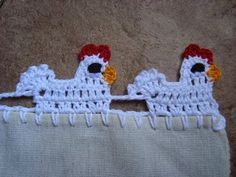 Free Crochet Chicken Border  @La Farme / Anne Anderson >>>Pinning this for Sarah!