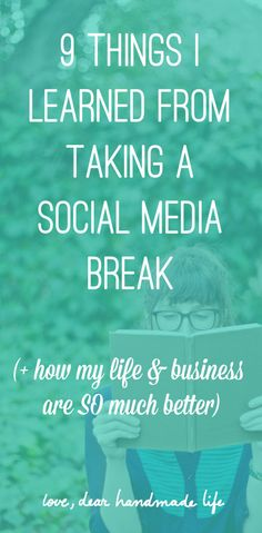 9 things that I learned from a social media break from Dear Handmade Life Source by dearhandmadelif Social Media Roi, Social Media Break, Social Media Detox, Social Media Quotes, Social Media Graphics, Free Followers, Self Love Affirmations, How To Stop Procrastinating, Learn To Love