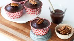 Turn a classic Texas Sheet Cake into bourbon-spiked, chocolaty, pecan-topped cupcakes.