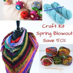Spring Sale on our Craft Kits - Receive 50 % off our market tote, shawl and arm knitting kits Knitting Kits, Arm Knitting, Craft Kits, Craft Supplies, Yarn For Sale, Darning, Spring Sale, Yarn Crafts, 50th