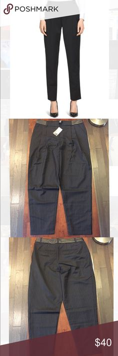 White House Black Market Pin Striped Ankle Pants Brand new with tags! I bundle and offer bigger discounts for BULK orders! All items are triple cross posted for fast sales! Please make purchases ASAP. The size 12 is a LONG size. White House Black Market Pants Ankle & Cropped