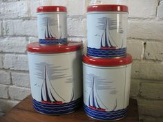 Vintage Canisters Sail Boat - Nautical