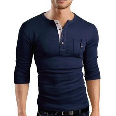 """Grin&Bear Slim Fit Sleeve Henley Shirt T-Shirt, navy, XXL, BreathStretch® Fabric Grin&Bear """"Athletic Cut"""" Specifically designed to compliment an athletic figure Flatlock stitching Long Sleeve Tee Shirts, Sexy Shirts, Mens Tee Shirts, Casual Shirts, Camisa Polo, Chemises Sexy, Dress Code Casual, Tee Shirt Homme, Henley Shirts"""