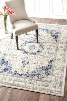 Verona ivory and blue area rug in Persian style