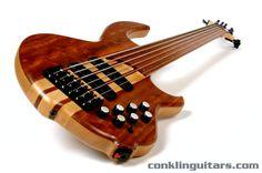 Custom Bass Guitars | Custom Shop Bubinga top, fretless Sidewinder 6 string bass Custom Bass Guitar, Custom Guitars, Bass Amps, Guitar Stand, Low Life, Bass Guitars, Cool Guitar, Rigs, Musical Instruments