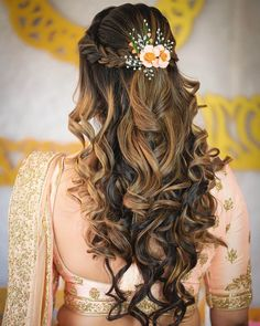 Quince Hairstyles, Open Hairstyles, Indian Bridal Hairstyles, Wedding Hairstyles For Long Hair, Elegant Hairstyles, Bride Hairstyles, Hairstyles For Weddings, Hairstyle For Indian Wedding, Bridal Hairstyle Indian Wedding