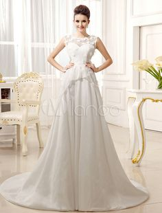 Court Train Ivory Bridal Wedding Gown with Jewel Neck A-line Flower - Milanoo.com