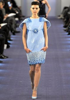 Chanel Spring 2012 Couture. Powder blue has been seen right across Chanel runways recently. Would look beautiful on Ladies' Oaks.