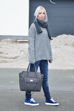 Turn it inside out, cheap monday, scarf, zara jumper, grey, oversized, jeans, karl lagerfeld, sneakers, blue, satin, marc b, bag, sam charcoal