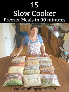 How to make 15 Slow Cooker Freezer Meals in 90 minutes for your family's dinners! This is a great meal plan for saving time and money!