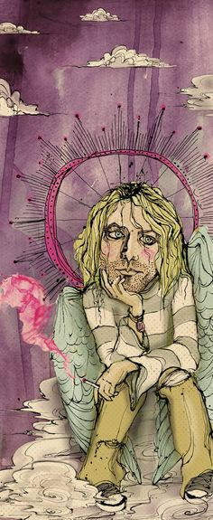 Series of pen & ink, watercolor portraits Kurt Cobain Painting, Kurt Cobain Art, Dave Grohl, Kurt Corbain, Nirvana Songs, Grunge Hippie, Indie, Concert Posters, Music Posters