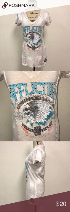 "Nwot Affliction motorcycle top Affliction size Large American customs motorcycle top. Chest measures 18"" and length is 30"". In perfect condition. Washed but not worn. Made out of 100% cotton. G01/109 Affliction Tops Tees - Short Sleeve"